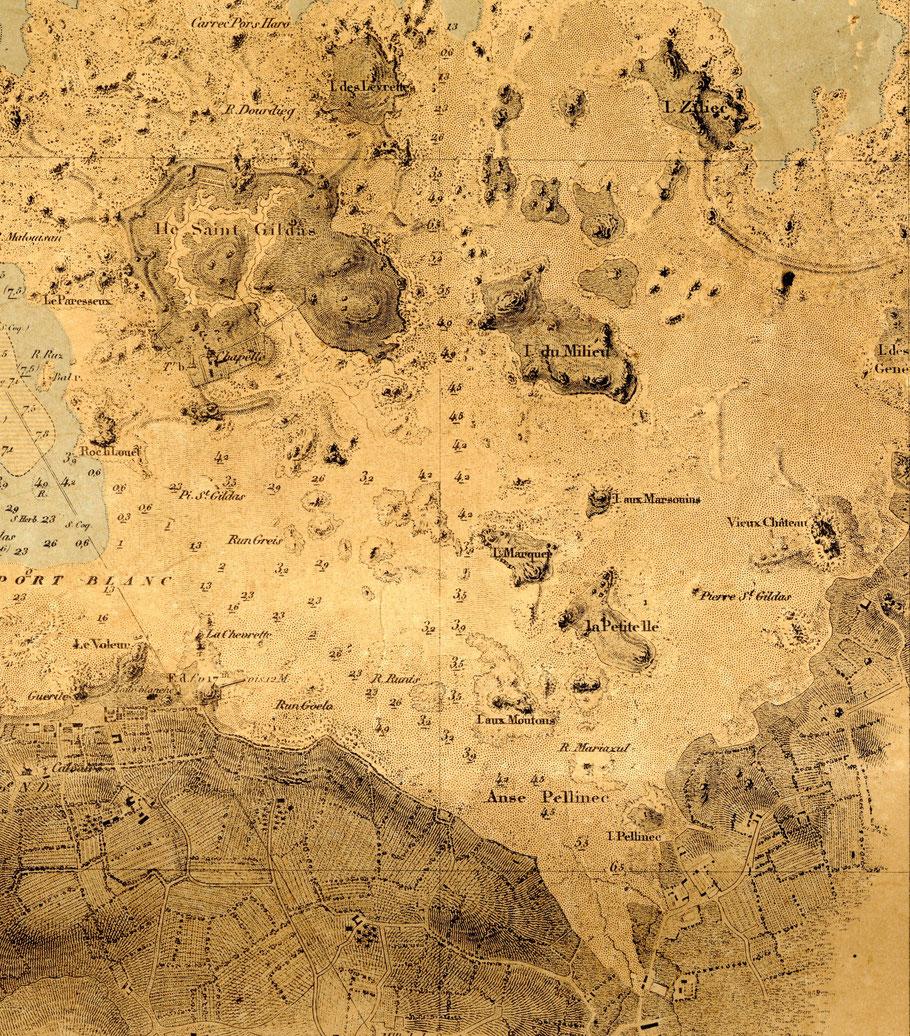 Carte marine du Port-Blanc, l'île Saint Gildas a un plan d'eau de mer qui se rempli avec la marée la digue chaussée permet d'en faire une pêcherie, Buguèles est juste à droite