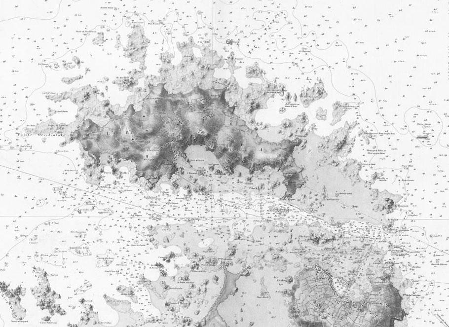 Ces deux événements de mer se passent dans le NE de l'île de Batz, Détail de la carte 975 du Service hydrographique édition de 1887 (archives SHOM)