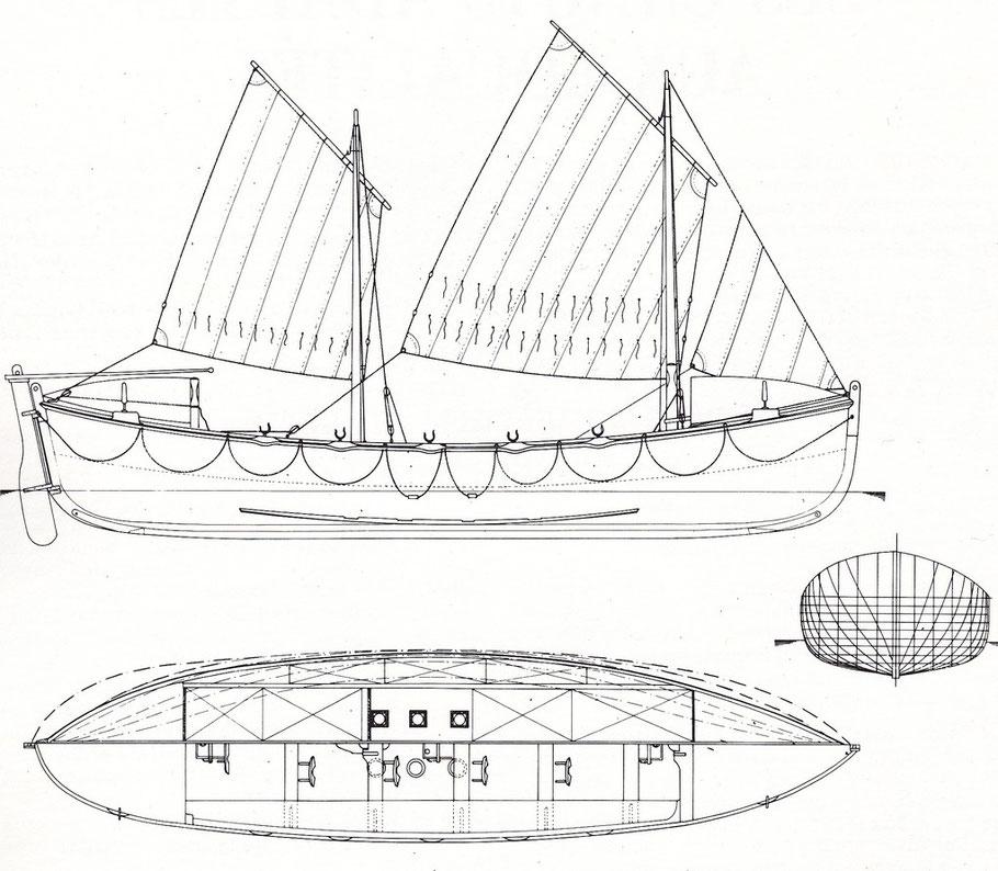Le canot « Sainte Madeleine et sainte Victoire de Saint Faron » fait partie de la nouvelle série des canots de sauvetage à l'aviron construits en série de 1878 à 1907