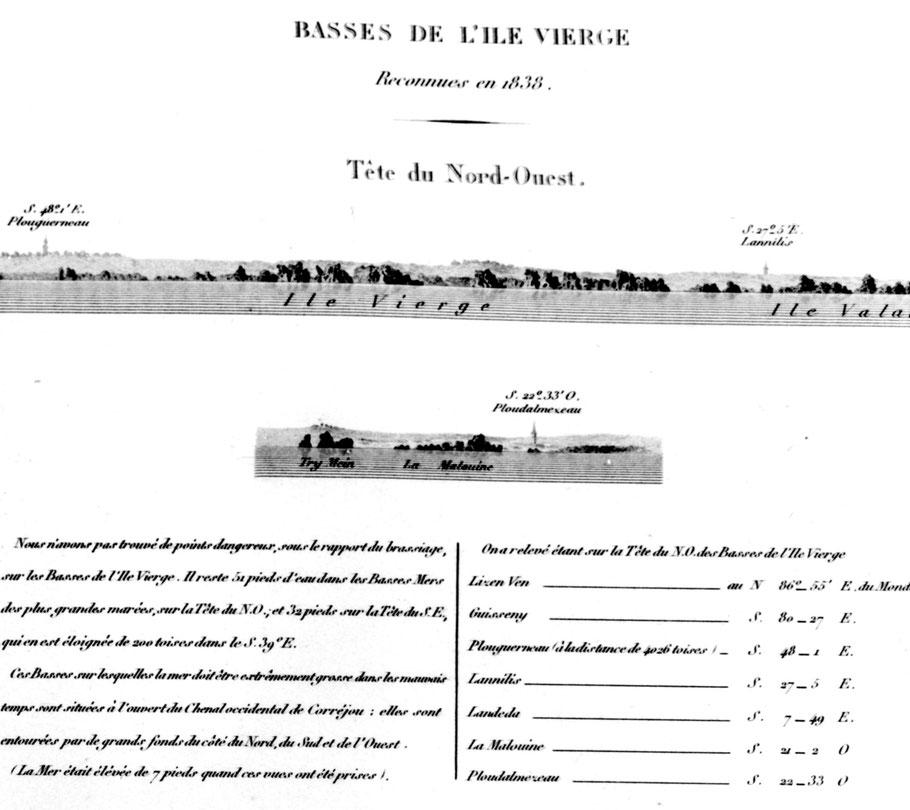 Basses de l'île Vierge du pilote français de Beautemps Beaupré 1838 à cette époque le premier phare de l'île Vierge n'est pas construit
