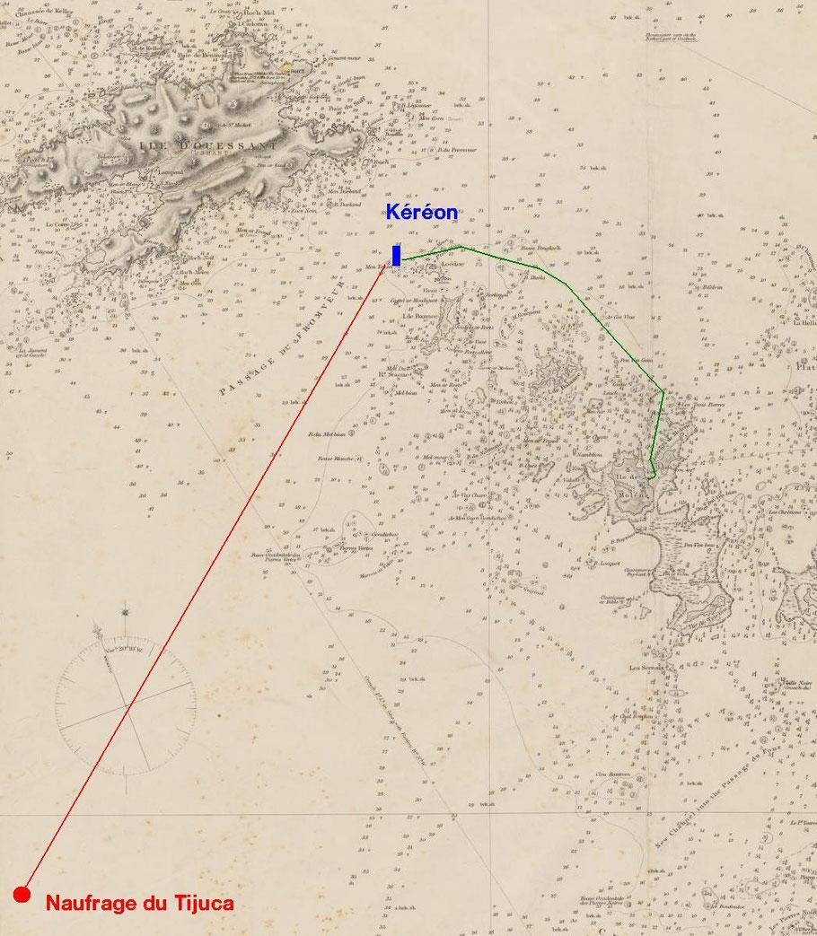 Carte des parages d'Ouessant en rouge : la route parcourue par les chaloupes du Tijuca, en vert : la route parcourue par le canot de sauvetage Amiral Roussin et le sloup de Tual