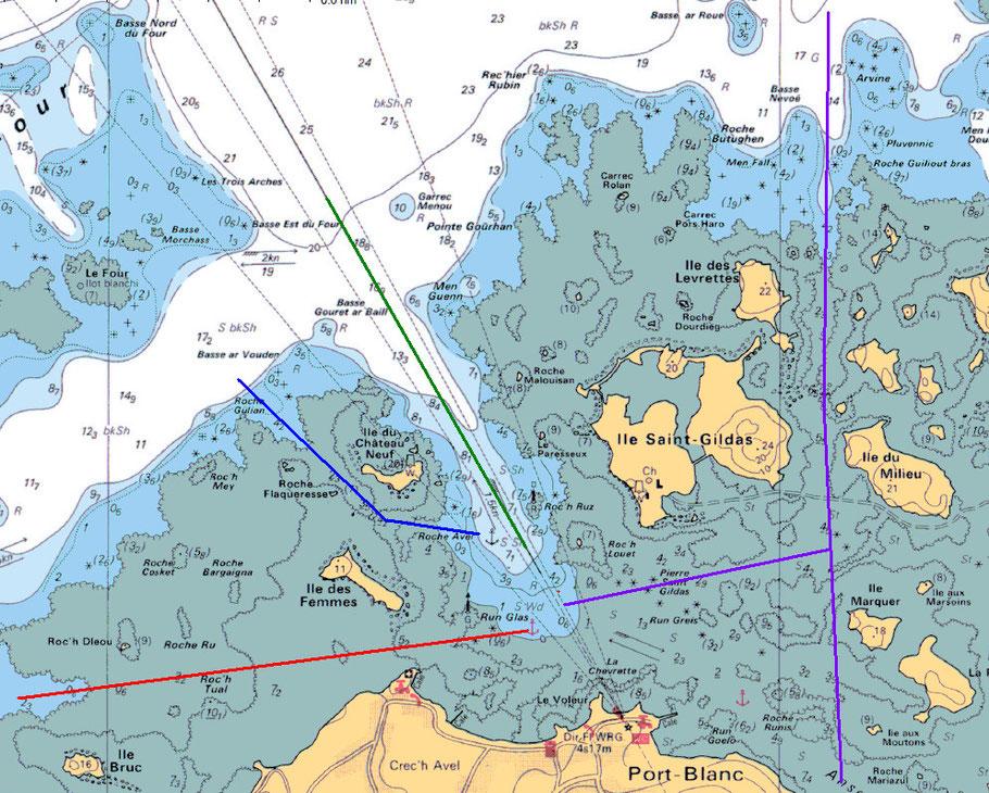 Extrait de la carte 7125 du SHOM, les quatre chenaux de port blanc, en vert le chenal principal, en rouge le passage de l'ouest, en bleu le passage du trou du flot et en violet le passage de Bornoa