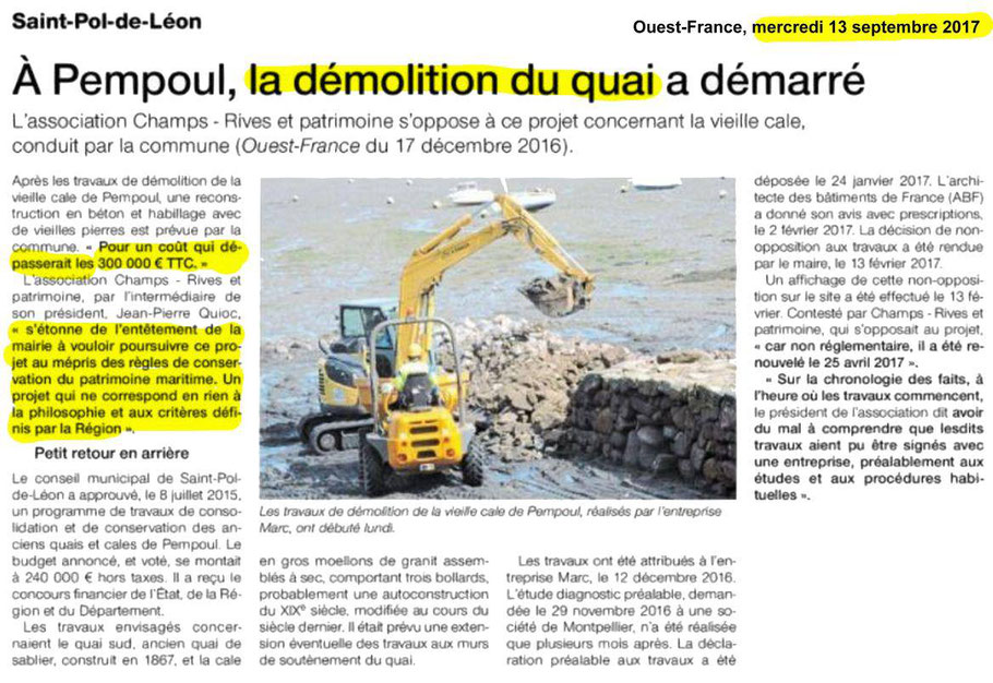 Article de Ouest France du 13 septembre 2017