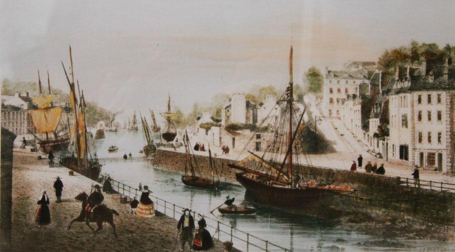 Le port de Morlaix vers 1840 est un port d'échouage, sur ce dessin lougres, bricks et cotres échouent à chaque marée