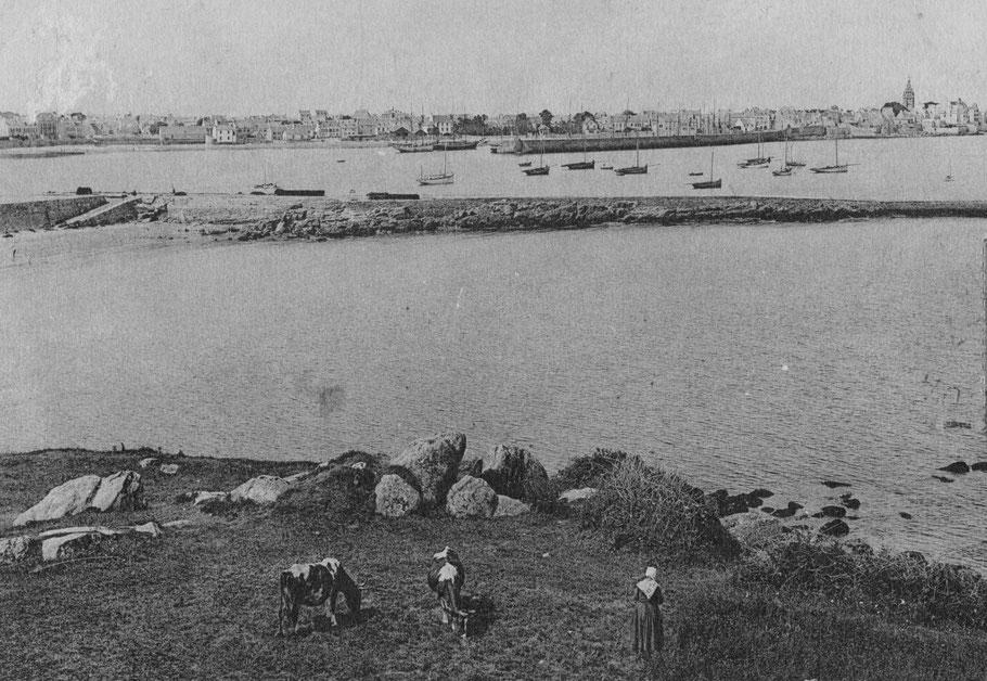 En mortes eaux , les cordiers restaient au mouillage pour la nuit à l'extérieur du port de Roscoff au Drezen comme sur cette photo prise de la pointe Sainte barbe