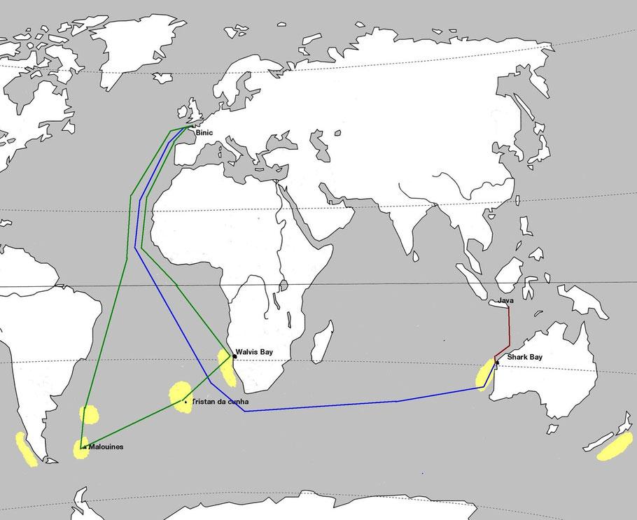 La pêche dans les mers du sud : en jaune, zones de pêche à la baleine dans les mer du sud, en vert la croisière potentielle de l'Entreprenant, en bleu celle du Persévérant et en rouge la traversée de la baleinière