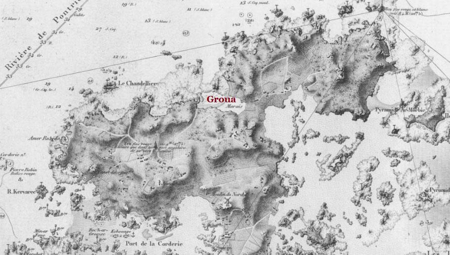Détail de la carte du SHOM 882 édition de 1886, Alfred Véroux était parti du port de la Corderie pour relever ses casiers dans le nord de Bréhat