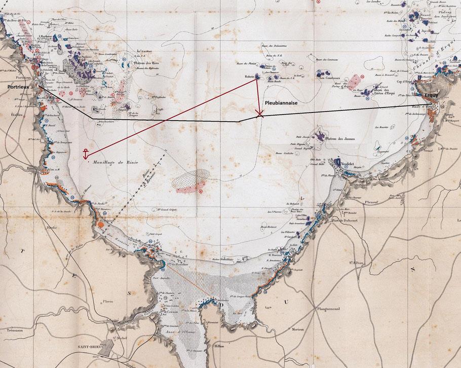 Baie de St Brieuc extrait d'une carte des gisements coquilliers de 1909, en rouge la dérive de la goélette Pleubiannaise, en noir la route du canot de sauvetage Chauchard