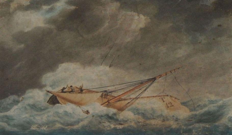 Naufrage d'un sloup en Normandie (barque de Trouville T12, ex voto à Equermauville)