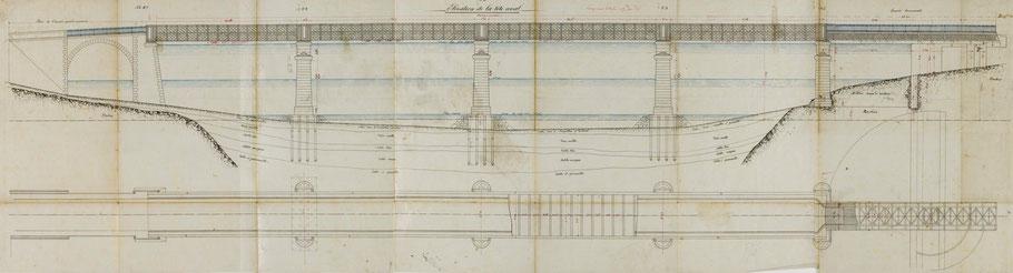 Plan du second pont Canada daté de 1884,  4 travées fixes et une mobile coté rive de Tréguier, le tablier est juste au dessus du niveau de la pleine mer de vive-eau