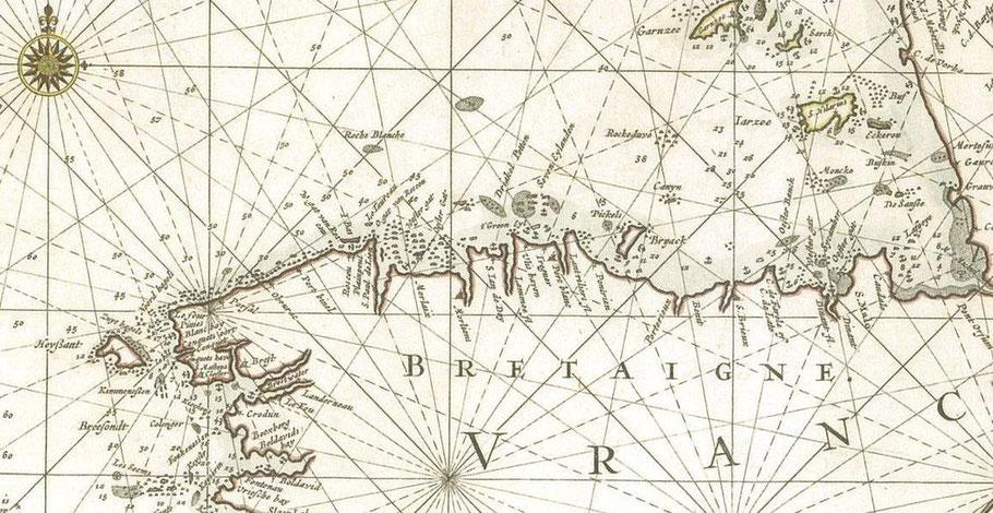 Détail de la carte hollandaise de la manche de Peter Goos de 1666