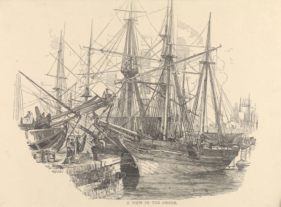 Dock de Londres vers 1850