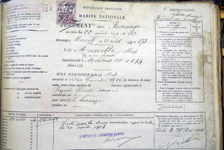 Entête du role d'équipage de la gabare Annette pour 1914 (SHD recherches Yann Riou)