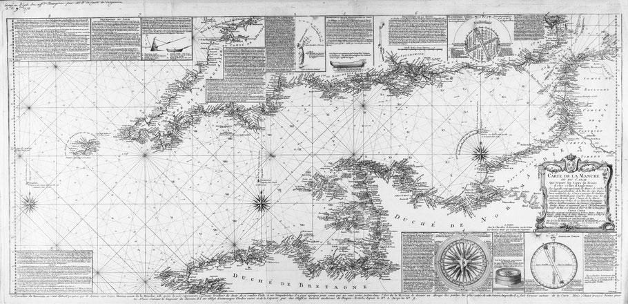 Carte marine de la Manche présentée au roi Louis XVI  par le chevalier de Beaurain  en 1778, cette carte présente plusieurs roses des vents pour le tracer des route avec la règle parallèle