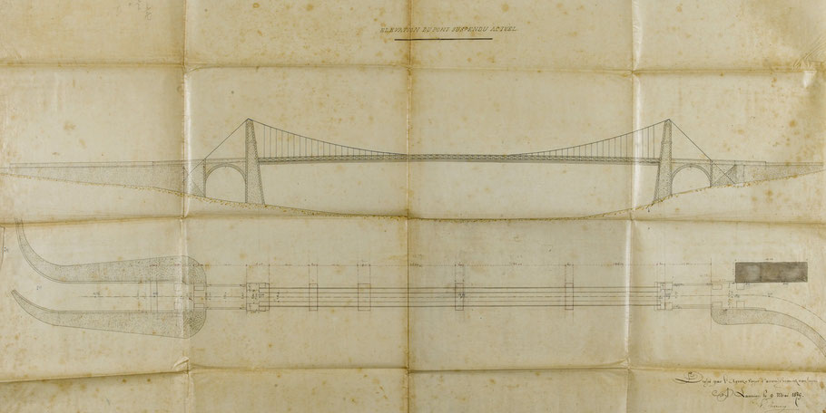 Plan du premier pont Canada (archives départementales 22), sur cette vue le rectangle gris est la maison du gardien coté Tréguier