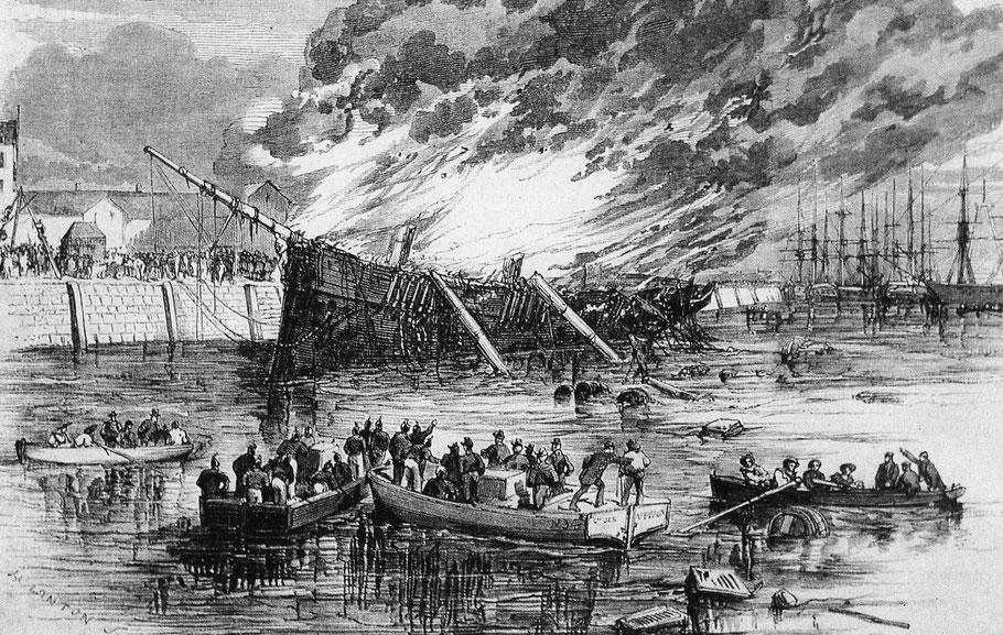 Incendie en 1858 du trois mât Gilchrest au Havre, le navire en feu a pu être isolé dans le canal Vauban  (livre Claude et Jacqueline Briot Clippers Français)