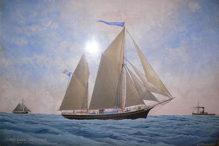 Portrait du dundée Météore réalisé par G. H. Harisson certainement dans un port Anglais, cette photo du cette peinture a été gracieusement fourni par Pierre-Yves Paranthoën descendant de la famille du capitaine du Météore