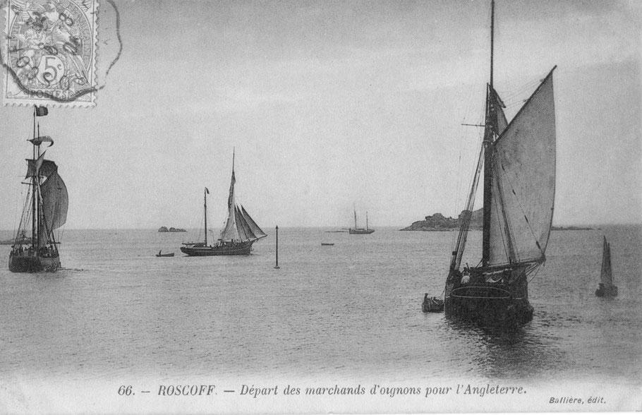 Caboteurs quittant le port par vent d'ouest, avec leur chargement d'oignons