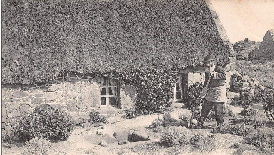 Ancien de Bréhat bêchant son jardin devant sa chaumière, le goémon à Bréhat comme sur toute la côté était abondamment utilisé pour amender les terres.  des cultures d'autosuffisance alimentaire étaient pratiquées sur l'île