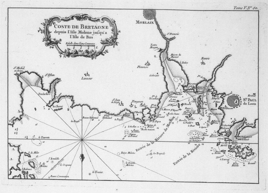 Carte marine de Bellin contemporaine de l'école d'hydrographie de St Pol  « depuis l'île Molène jusqu'à l'île de Bas »