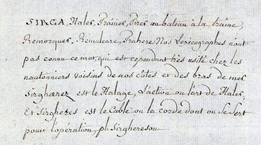 Extrait du dictionnaire manuscrit de Pierre Joseph Jean de Coëtanlem de Rostiviec (Coll. Ville de Brest - Médiathèque des Capucins)