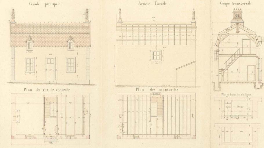 Plan des maisons des gardiens chauffeurs, le confort est nettement meilleur  que le logement du pied du phare.