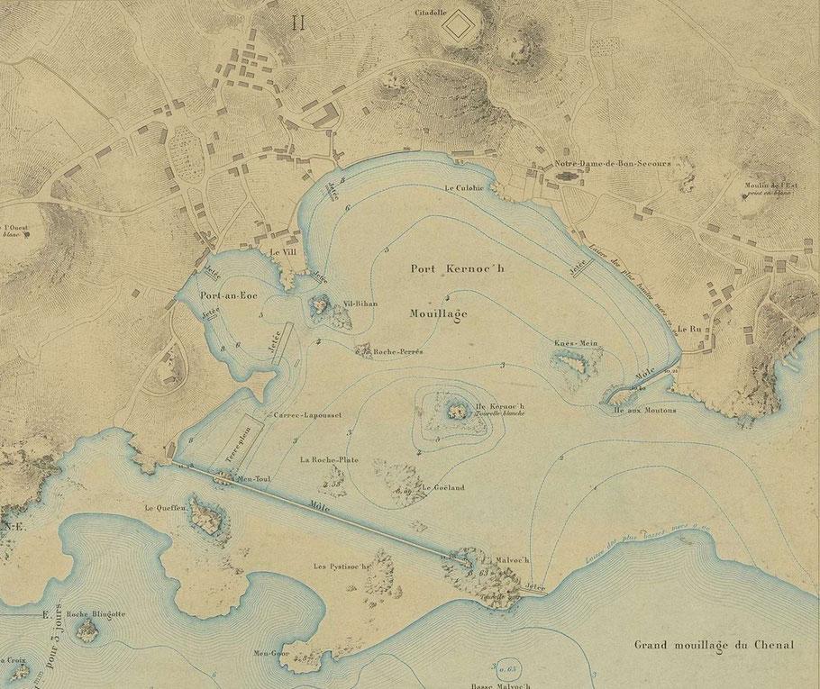 Plan du port de l'île de Batz en 1877 d'après l'atlas des port de France, le môle est bien en évidence