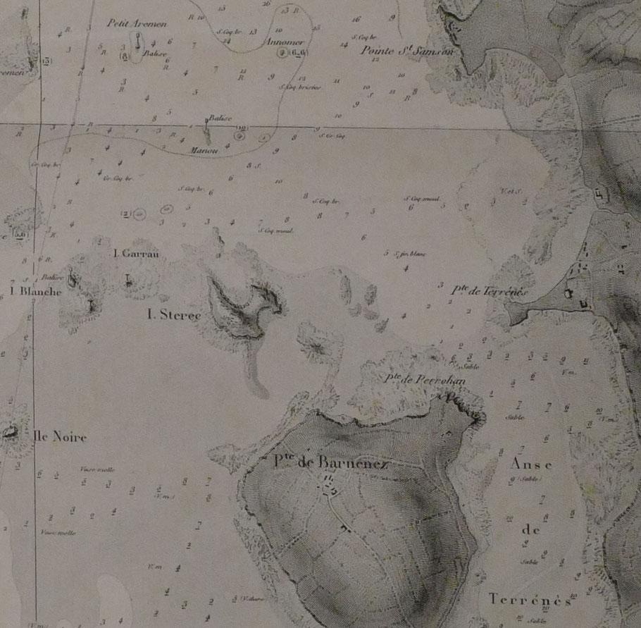 Extrait de la carte du pilote français de 1842 « plan des passes et de la rade de Morlaix » La goélette Adèle a coulé dans le nord de l'île Sterec à proximité des balises Petit Aremen et Manou, les sondes sont données en pieds  (Carte coll. Perso.)
