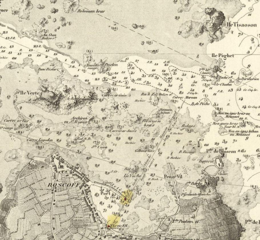 Extrait de la carte 975 du SHOM de 1898, le Remora est au mouillage dans l'ouest de Pighet, la sortie du canot de sauvetage de Roscoff est vraiment très courte (Archives SHOM).