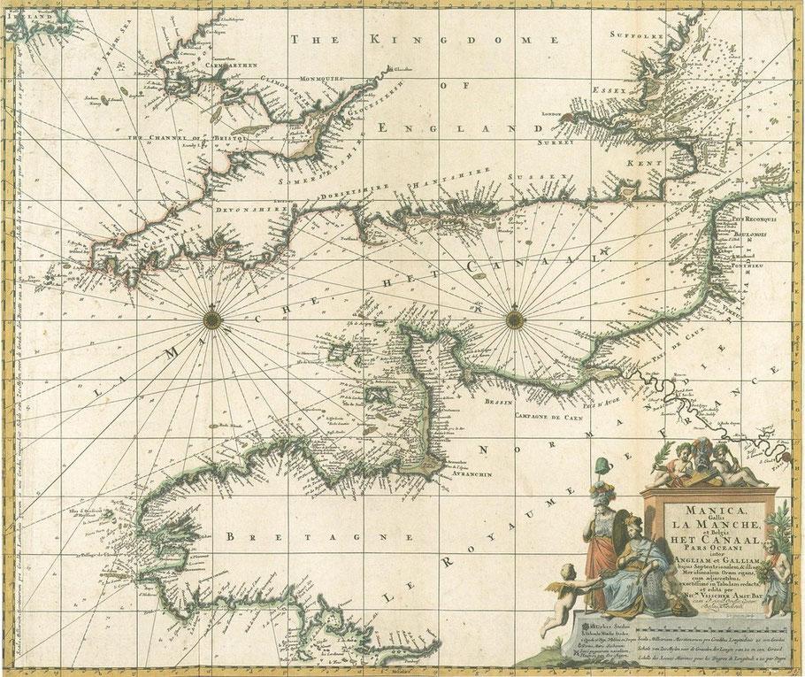 Carte hollandaise de la manche de Nicolas Jans Visscher  1695