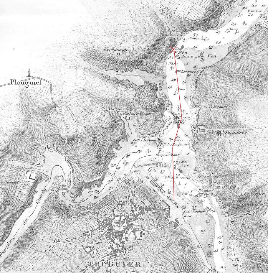 Carte de rivière de Tréguier, la route parcourue par le Protégé de Notre Dame des Victoires n'était certainement pas aussi directe que ce tracé, il semble qu'il était obligé de tirer des bords en rivière