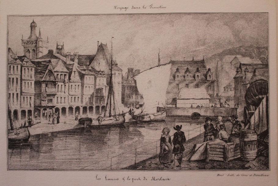 Gravure du fond du port de Morlaix à pleine mer. Cette gravure date d'avant avant 1836, on voit l'ancien Hôtel de Ville