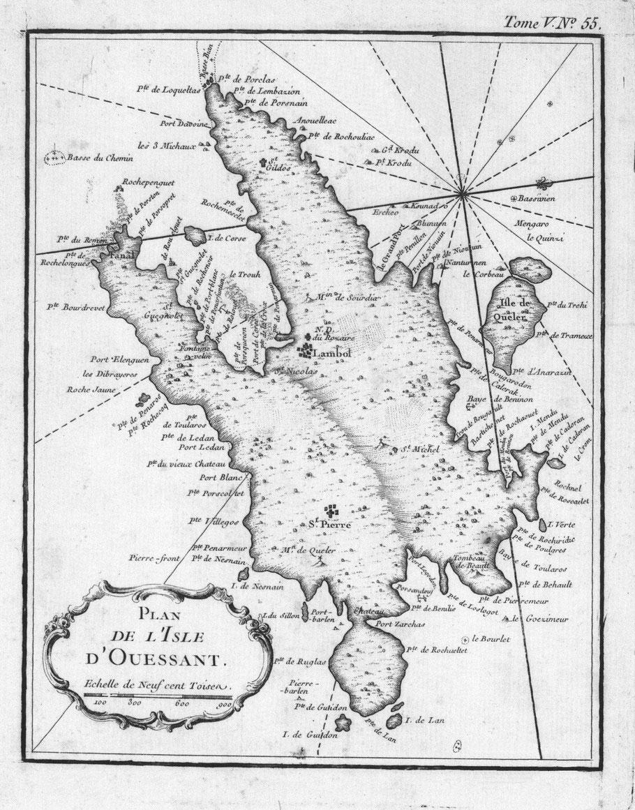 Carte du Neptune François de Belin édition de 1764