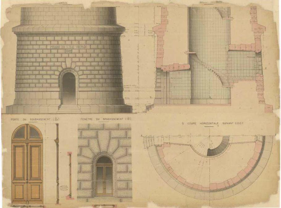 Détail du bas de la tour et des huisseries (archives départementales du Finistère)