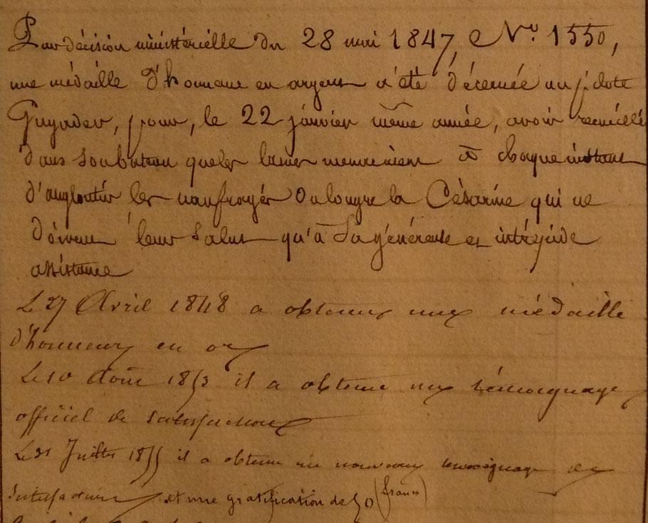 Marques de reconnaissance reçues par le pilote Guyader, pour son action de 1853 il obtient le 10 aout  un témoignage officiel de satisfaction (SHD cote 6P3 53)