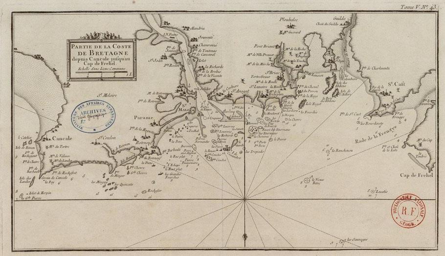 Carte de Belin de Cancale au Cap Fréhel en 1763 les cartes marine sont peux précises