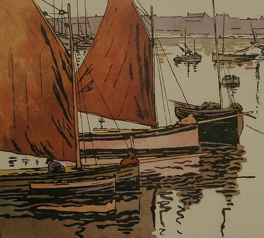 Les petits cotres de pêche de Roscoff gravure sur bois par Amedé Joyau