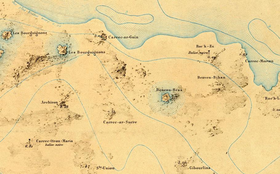 Détail du plan  du port de Roscoff (Atlas des côtes de France de 1877) on peut facilement imaginer que l'Édouard-Eugène à coulé dans l'Est de Carrec car Guin