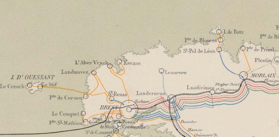 Sémaphores du Finistère nord, le câble sous-marin transatlantique partant de la plage du Minou a été posé en 1869, les premiers câble télégraphiques sous-marins de Bretagne sont donc ceux qui relient les îles posés en 1866