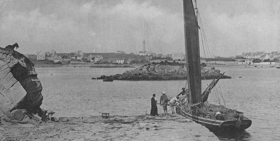 Le Coq de l'île à la cale de l'île aux moutons vers 1914, chargé de tonneaux et de mannequins de légumes, remarquez la chèvre à gauche (Coll. Annie Gallou)