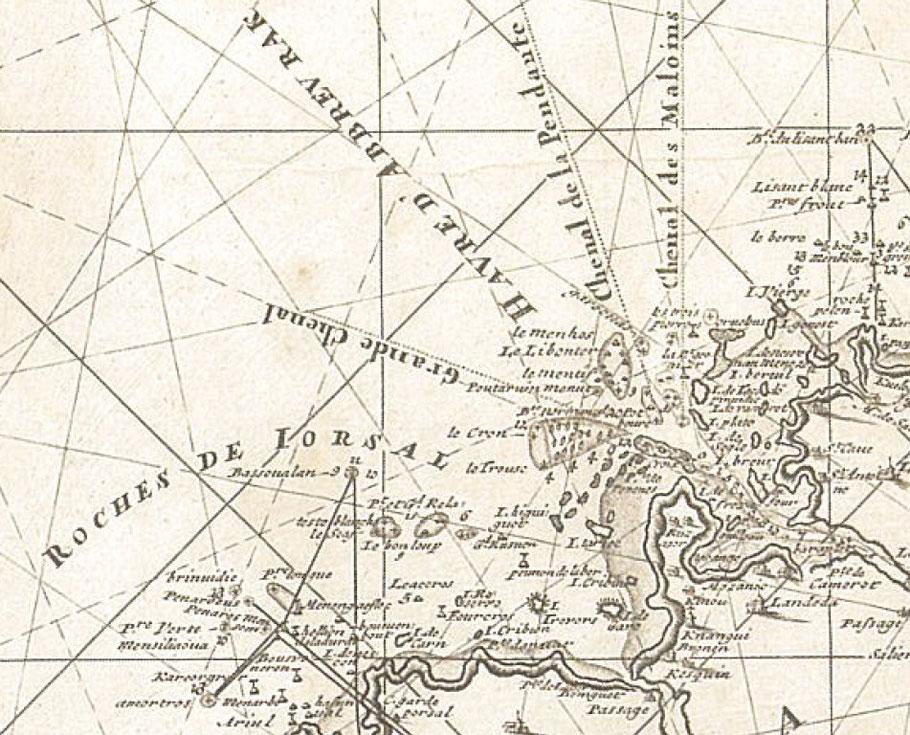Détail de la carte hollandaise de Gérard Van keulen de 1699, cette carte est remarquablement précise et moderne pour l'époque, la toponymie nautique locale est très bonne.