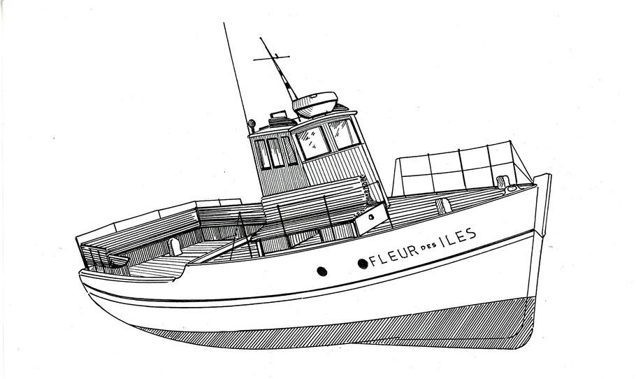La vedette  blanche Fleur des îles  marqua le changement des bateaux de passage, sloups mixtes, des bateaux creux, aux vedettes modernes en bois
