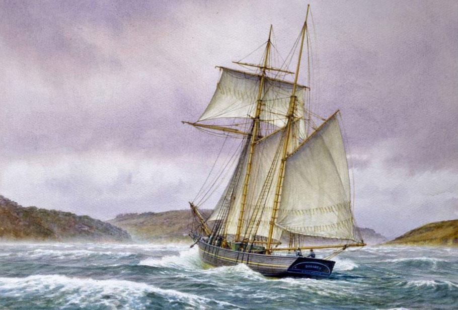 Goélette de cabotage anglaise Dolores, l'Eliza du capitaine Floch était certainement de type plus ancien (peinture de Mark R. Myers)
