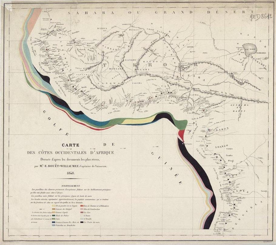 Carte des côtes Occidentales d'Afrique Bouet Willaumez 1848 en noir les côtes où sont pratiquées la traite