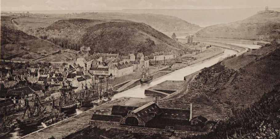 Port du Légué vers 1877, de nombreux bricks armés pour la pêche à Terre-Neuve sont à l'échouage le long des quais du légué qui n'est pas encore un bassin  (Photo J ; Duclos)