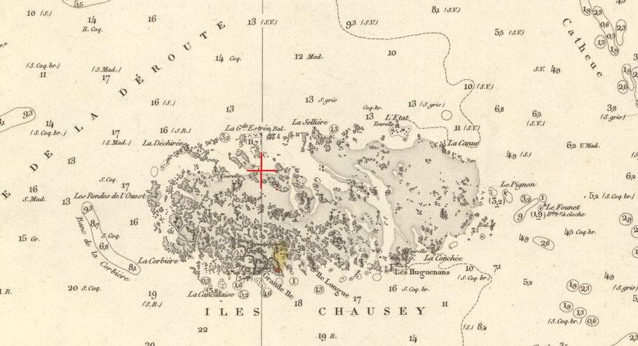 48° 54' N et 4° 10' O  sur la carte 880 du SHOM édition de 1876 (Archives SHOM)