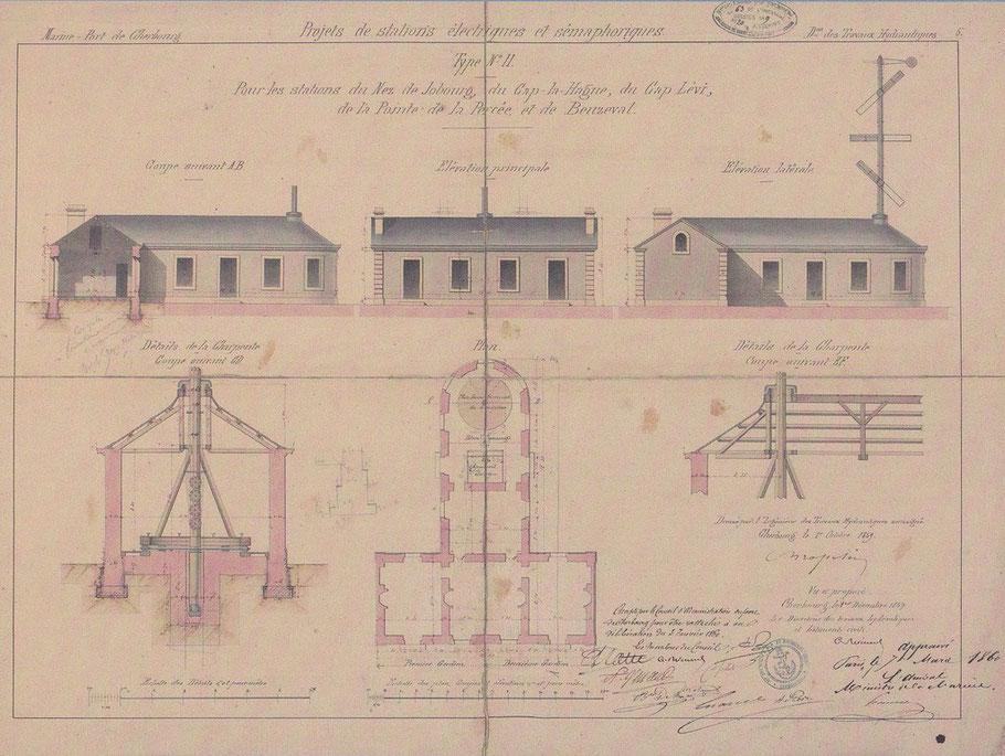 Plan du sémaphore du cap Lévi, celui de l'île est construit sur le même plan type
