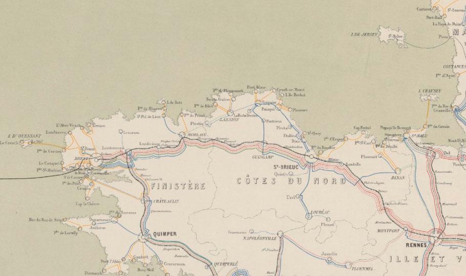 Extrait pour le nord de la Bretagne de la « carte du réseau télégraphique français dressé par l'administration » en 1870,   les grosses artères de câbles télégraphiques suivent le tracé de la voie de chemin de fer Paris Brest