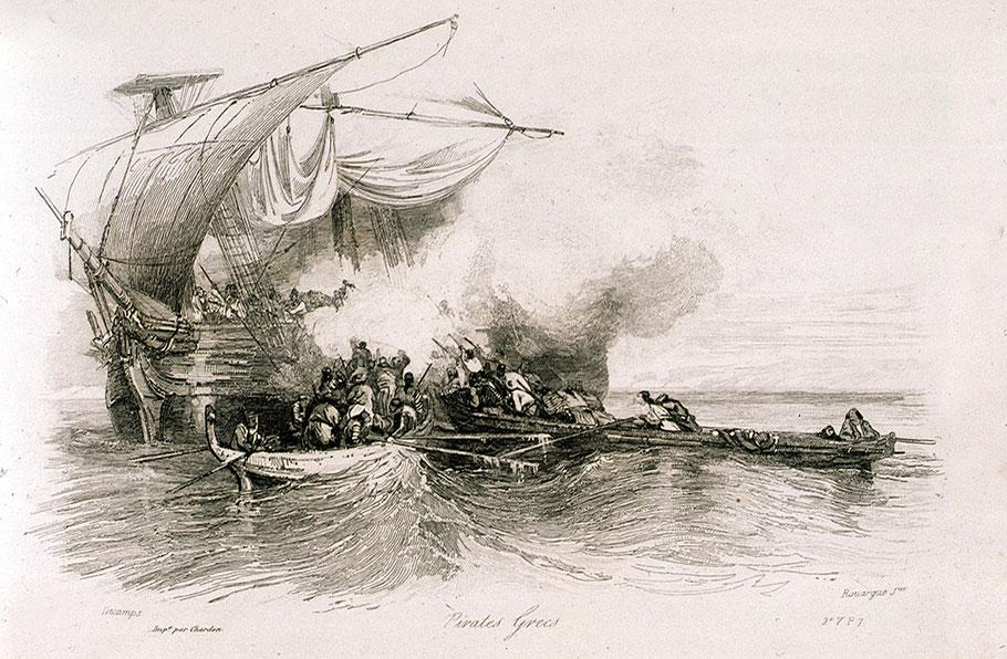 Pirates grecs attaquant le brick, toutes les gravures du XIXème représente le Panayoti sous voiles alors qu'il était au mouillage depuis le matin, toutefois cette gravure est la plus réaliste