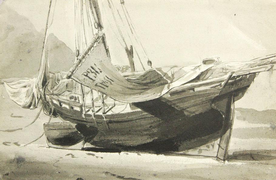 Sur ce dessin du douanier Louis Marie faudacq on voit bien la forme particulière du tableau des gabares du Trieux. (Coll. AD 22)
